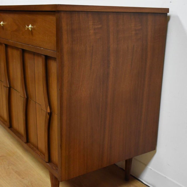 Mid-Century Modern Mid-Century Modern Sculpted Walnut Long Dresser For Sale - Image 3 of 10
