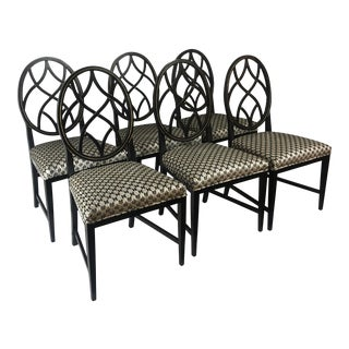 Set of 6 Black Modern Dining Chairs For Sale