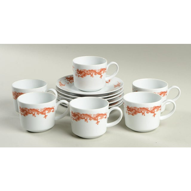 Fukagawa for Tiffany Dragon Red Cup & Saucer Set/6 For Sale - Image 11 of 11
