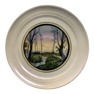 Mid-Century Handthrown Plate With Modernist Painting Studio Pottery Plate Signed Bush St. For Sale