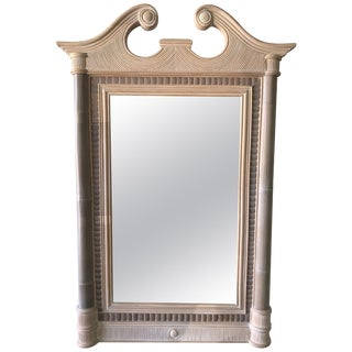 Maitland Smith Tropical NeoClassical Bamboo Rattan Split Reed and Stone Mirror For Sale