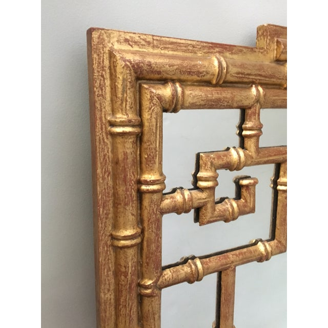 Asian La Barge Asian Chinoiserie Gold Faux Bamboo Wall Mirror For Sale - Image 3 of 4