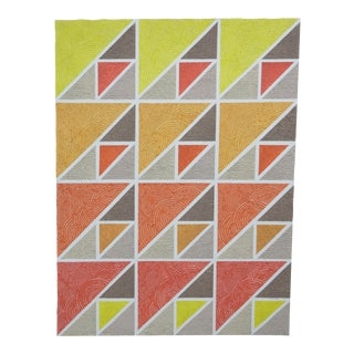 1989 Art Deco Revival Style Geometric Mixed-Media Painting For Sale