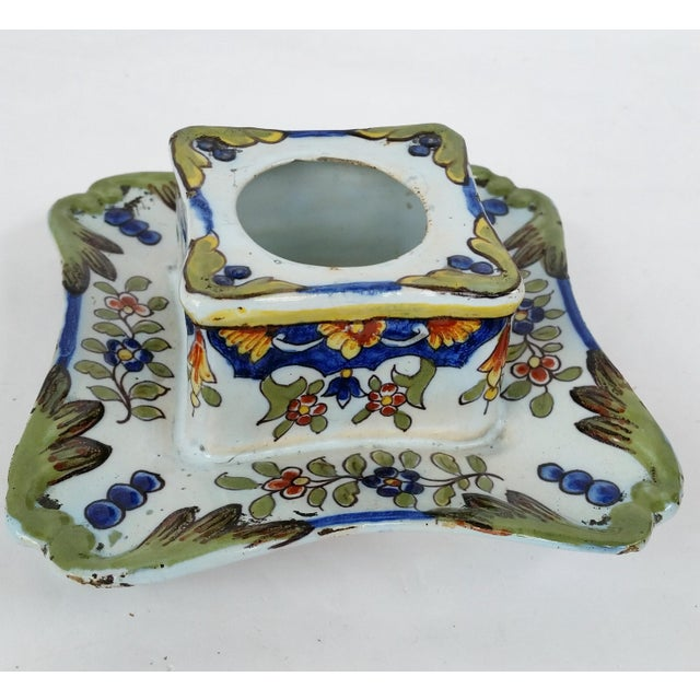 Antique French Rouen Faience inkwell, pen rest signed with the Emile Fourmaintraux mark on bottom. Made by one of the...