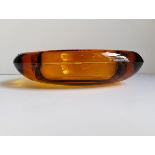 Mid-Century Modern Mid-Century Triangular Amber Glass Ashtray For Sale - Image 3 of 9
