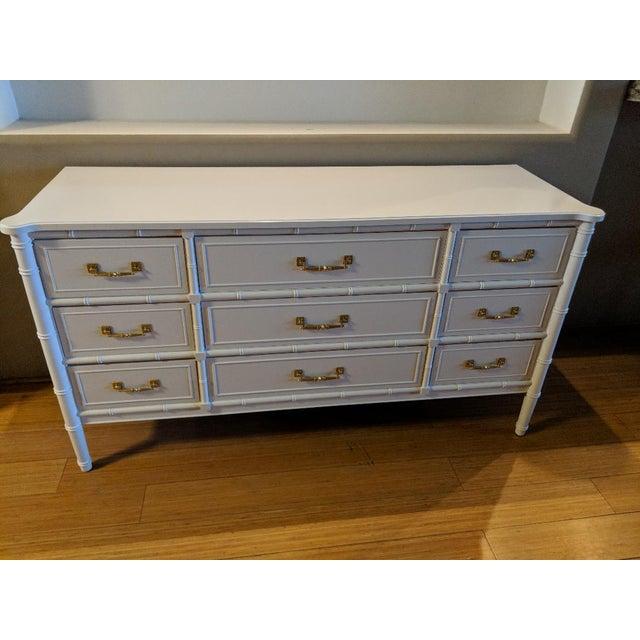 Absolutely perfect Bali Hai Henry Link faux bamboo nine drawer dresser. Professionally painted in a high gloss white....
