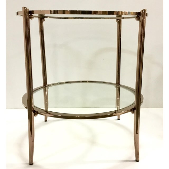 Stylish modern Caracole metal and glass at first blush end table, showroom floor sample, original retail $1170