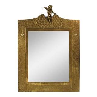 English Aesthetic Movement Brass Wall Mirror With Angel on Top For Sale