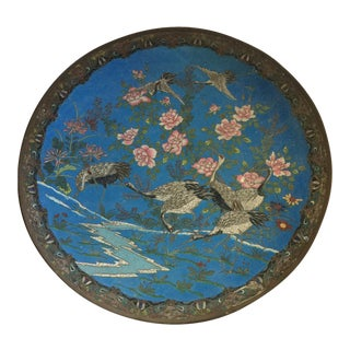 1885 Japanese Cloisonné Charger Plate For Sale