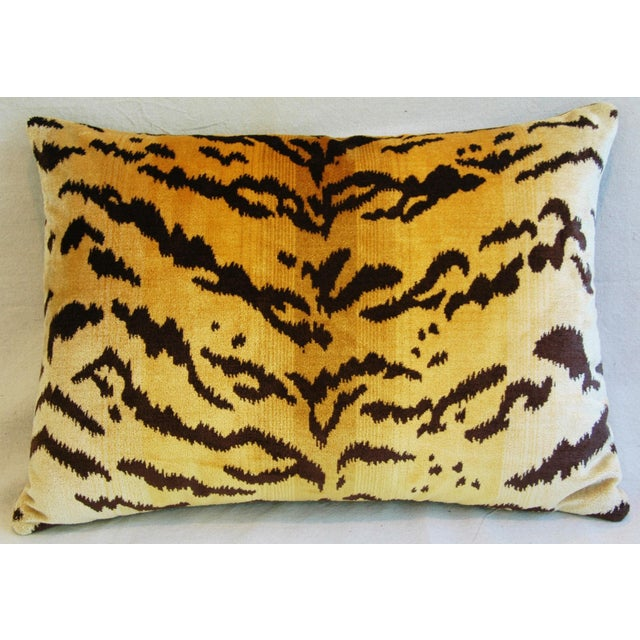 Italian Scalamandre Le Tigre Tiger Stripe & Mohair Pillow - Image 4 of 5