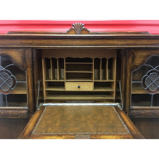 Antique Carved Wood Secretary Desk - Image 3 of 11