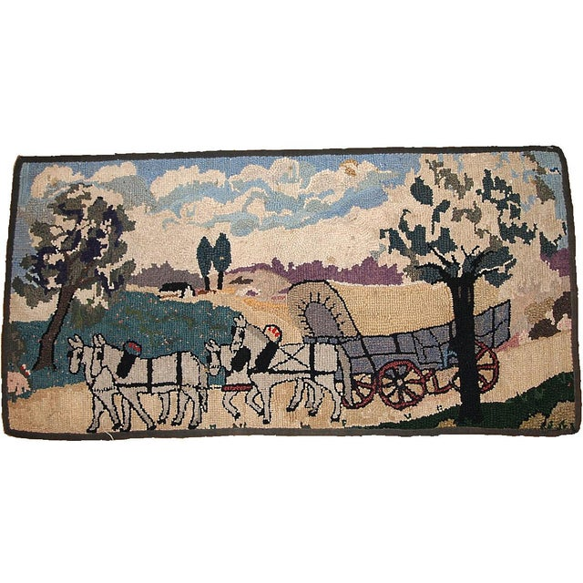 1880s Handmade Antique American Hooked Rug 1.10' X 3.9' For Sale In New York - Image 6 of 6