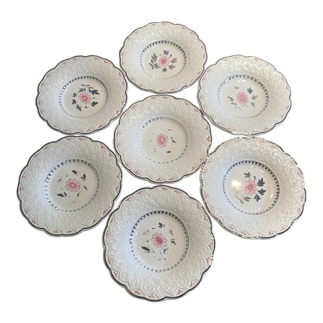Vintage Wedgwood of Etruria and Barlaston Fine Bone China Pink & Silver Lustre Scalloped Edge Plates - Set of 7 For Sale