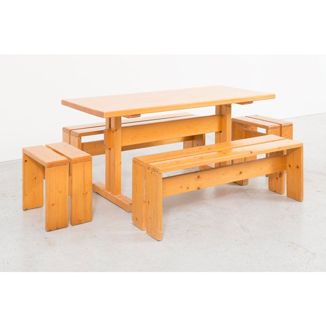 Gold Les Arcs Pine Dining Table by Charlotte Perriand For Sale - Image 8 of 9