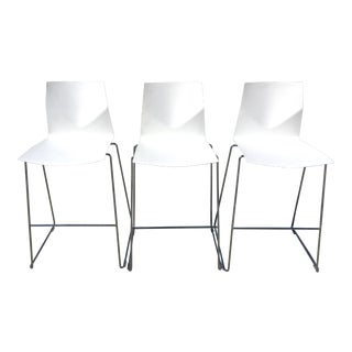 1990s Contemporary Strand + Hvass for Four Design White Acrylic Bar Stools - Set of 3