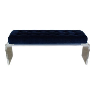 Waterfall Lucite Bench With Blue Chenille Upholstery, Blue Chenille Bench, Lucite Bench For Sale