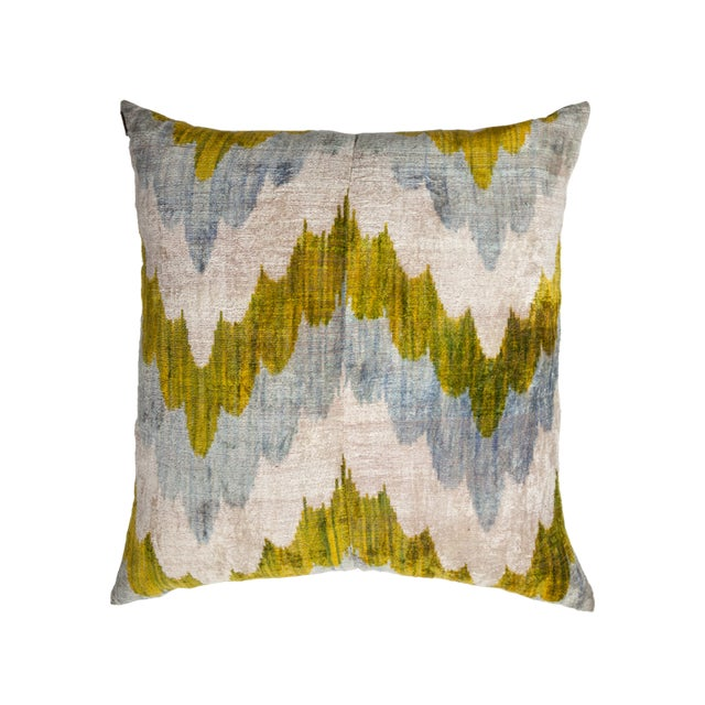 Double-sided silk velvet ikat pillow made in California from vintage fabric handwoven on traditional looms in Uzbekistan....