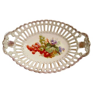 1900s Antique Bavarian Reticulated Bread Bowl For Sale