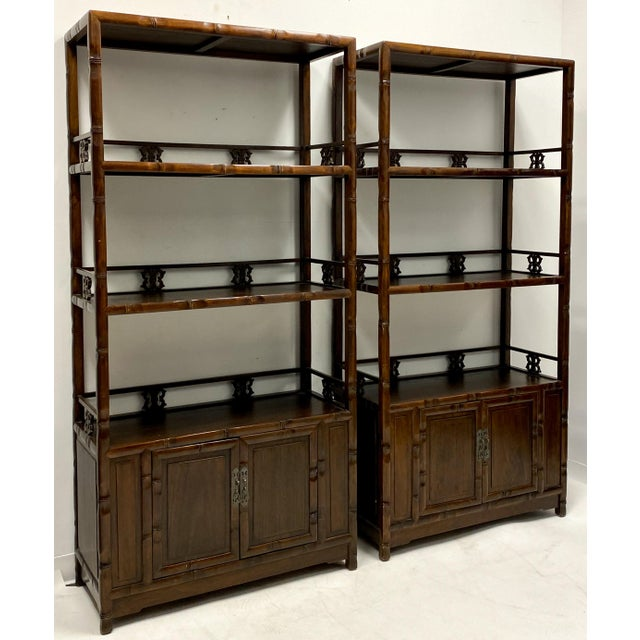 Pair of Mid-Century Asian Faux Bamboo Etageres For Sale In Atlanta - Image 6 of 6