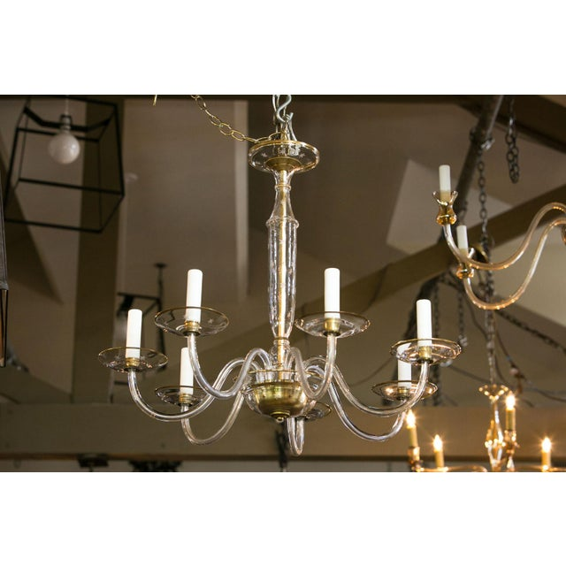 Gold Italian Clear Glass Chandelier For Sale - Image 8 of 8