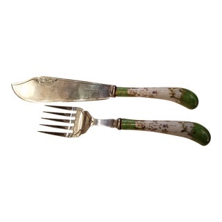 Sheffield Silver Serving Knife & Fork - A Pair For Sale