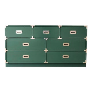 Green Lacquered 7 Drawer Campaign Style Chest/Dresser For Sale
