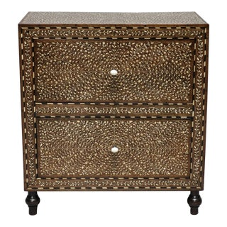 Wood and Bone Inlay Bedside Cabinet With Legs and Knobs For Sale