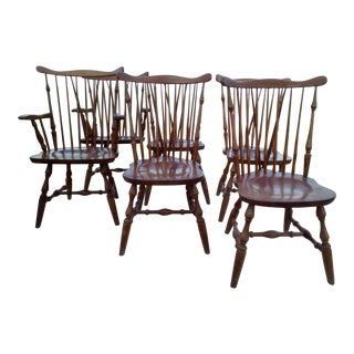Late 20th Century Ethan Allen Heirloom Nutmeg Chairs - Set of 6 For Sale