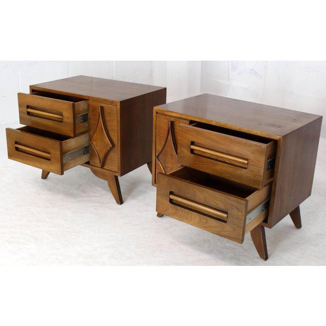 Mid-Century Modern Pair of Large Walnut Nightstands End Tables with Small Bookcase For Sale - Image 3 of 9