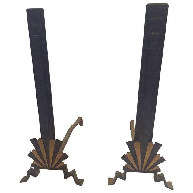 Metal Sensational Rare Art Deco Andirons in Black and Gold For Sale - Image 7 of 7