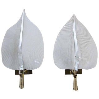 Large Murano Italian Franco Luce Glass Leaf Wall Sconces - a Pair