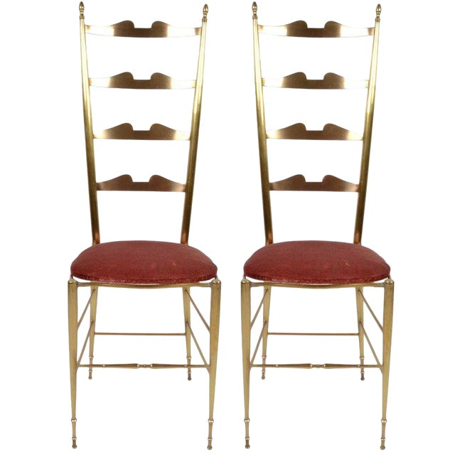 Italian Chiavari Bronze High Back Chairs, a Pair For Sale
