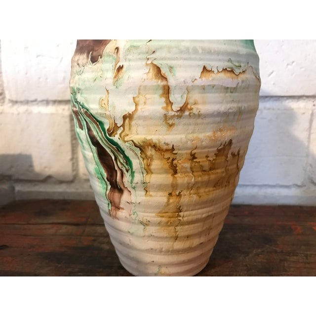 Nemadji Tall Green and Brown Swirl Vase For Sale - Image 4 of 12