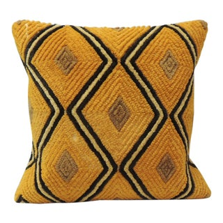 Dark Orange Raffia Velvet Kasai Decorative Pillow For Sale