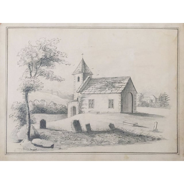 19th C. French Drawing of a Church - Image 2 of 3