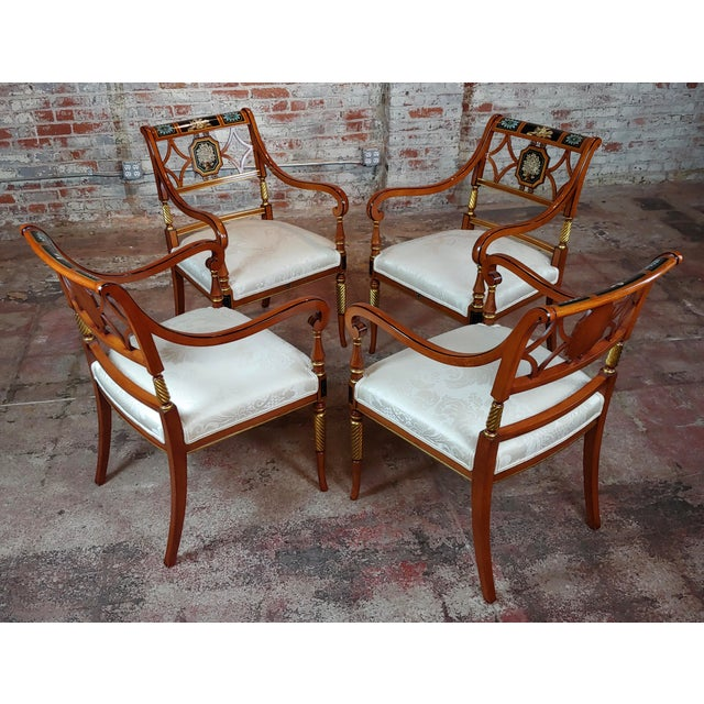 "Baker - Beautiful painted Regency Arm Chairs -Set of 4 size 23 x 23 x 37"" seat height 20"" A beautiful piece that will add..."