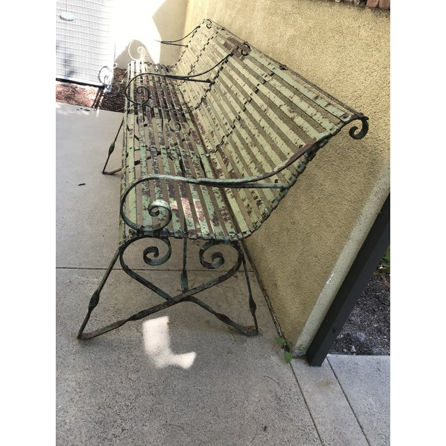 Metal 19th Century Antique French Wrought Iron Green Garden Park Restaurant Bench For Sale - Image 7 of 13
