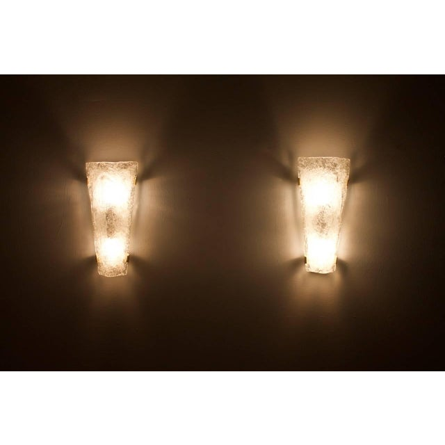 Mid-Century Modern Pair of Hillebrand Brass and Glass Wall Sconces, 1965 For Sale - Image 3 of 7
