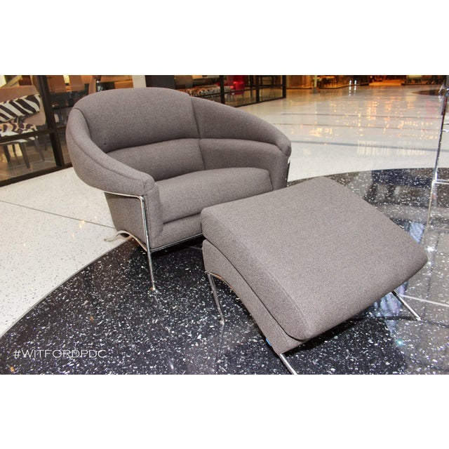 2010s Modern Milo Baughman for Thayer Coggin Boldido Chairs and Ottomans- a Pair For Sale - Image 5 of 11