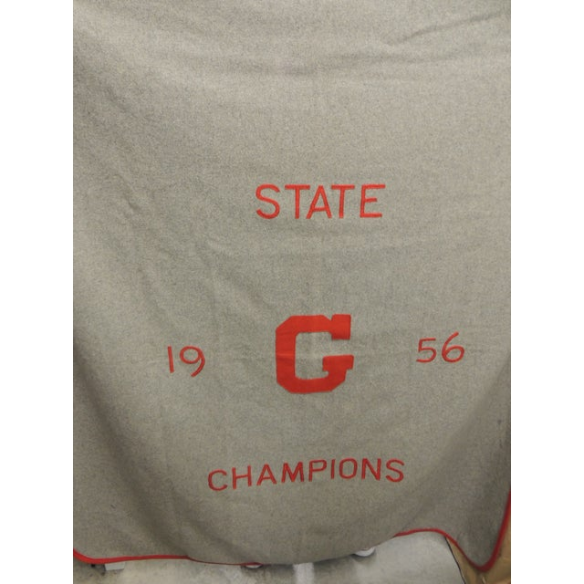 Vintage Wool Stadium Blanket State G Champions 1956 - Image 3 of 4