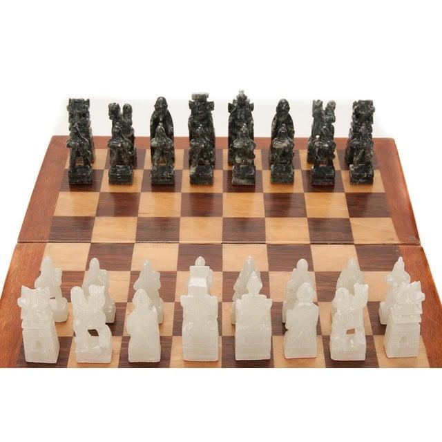 Chinese Green & White Jade Soap Stone Chess Set - Image 3 of 8