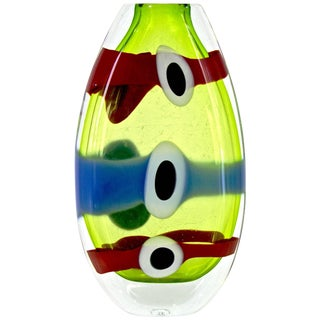 Olivier Mallemouche Colorful Green Glass Vase With Red and Blue Murrine For Sale