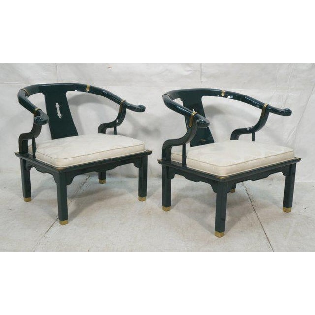 Pair of Green Lacquered James Mont Asian Style Lounge Armchairs by Century, Signed For Sale - Image 10 of 10