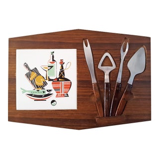 Mid 20th Century Wood & Ceramic Cheese Board With Stainless Tools - 5 Piece Set For Sale