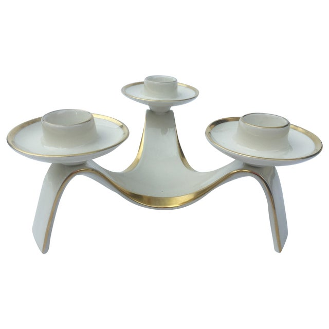 White and Gold Tri-Candle Holder - Image 1 of 3