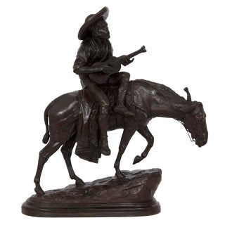 Peyrol Bronze Sculpture of Spanish Guitar Player by Isidore Bonheur For Sale