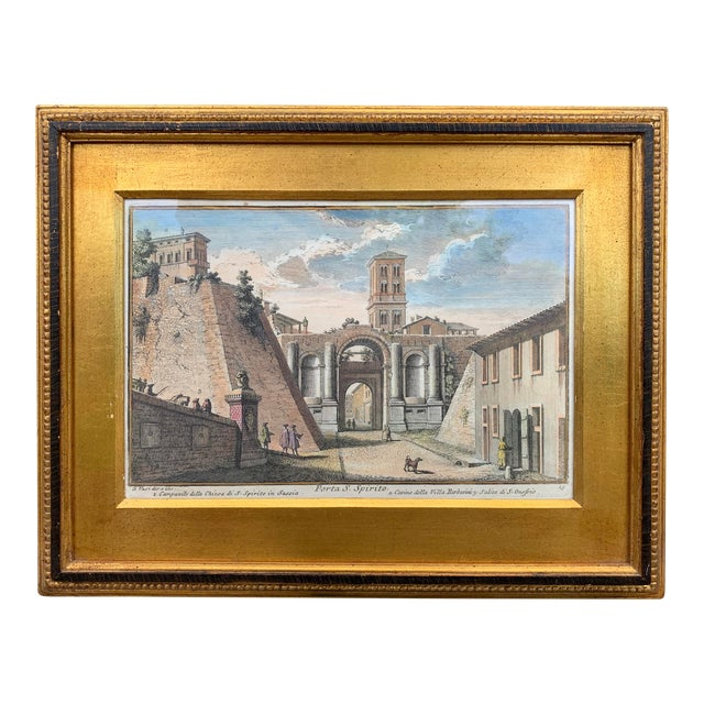 Early 20th Century Antique Porta S. Spirito Framed Hand-Colored Engraving For Sale
