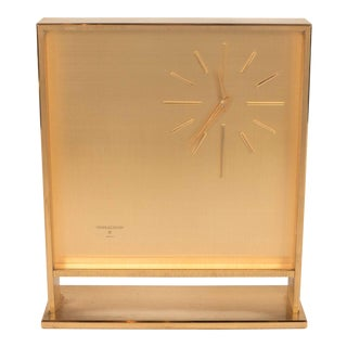 Ultra-Chic Mid-Century Modernist Metal Doré Clock by Jaeger-LeCoultre For Sale