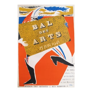 1948 Bal des Arts Paris Poster, Gavarni Carnival For Sale