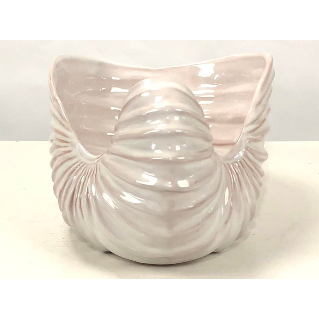 1960s Signed Italian Handmade White Ceramic Shell Planter Bowl For Sale - Image 5 of 9